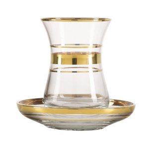 Pasabahce - チャイグラスセット ゴールド (6個)